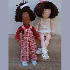 "Fun and cuddly pair of 15"" best friends dolls to make, cloth doll PDF maggie & keshia."