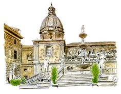 Sketch of the Fontana Pretoria Sculpture in copic markers. The Fontana Pretoria sculpture, built in 1554, features animal heads, gods, goddesses, nymphs and horned patronesses. The fountain sits at the center of the Piazza Pretoria, which is known as the most striking square in Palermo, as two large historical churches sit across from each other.