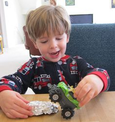 yupp doing this tomorrow for Liam, tin foil cars to crush with monster trucks. thinking @Rosa Bonar needs to pin this too!! :-)