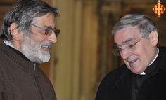 El Cardenal amb el rector de la basílica