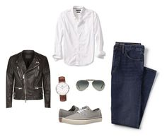 """""""Day in Sydney Harbor"""" by laurenhansendenatly ❤ liked on Polyvore featuring Lands' End, Banana Republic, AllSaints, Vans, Ray-Ban, Daniel Wellington, men's fashion and menswear"""