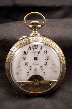 ANTIQUE HEBDOMAS ANCRE MARLBORO 8 DAY EXPOSED BALANCE FANCY DIAL POCKET WATCH #Hebdomas