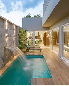 Having a swimming pool in your house can be one of the solutions. You won't have to share your pool with people who you don't know. However, designing a private swimming pool, either indoor or outdoor, can be a difficult task. Small Backyard Pools, Backyard Pool Designs, Small Pools, Swimming Pools Backyard, Swimming Pool Designs, Luxury Swimming Pools, Infinity Pool Backyard, Swimming Pool Decorations, Amazing Swimming Pools