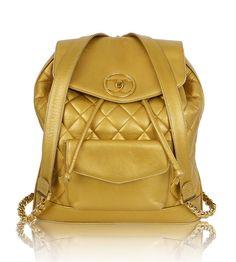 #Chanel Vintage Gold Metallic Lambskin Jumbo #Backpack Bag Rare