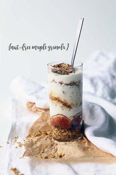 Nut-free maple granola with coconut yogurt and fresh figs
