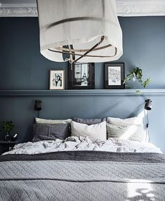 Inviting home with a blue bedroom Waterloo St Interior, Home, Scandinavian Bedroom, Bedroom Interior, Scandinavian Home, Built In Sofa, Bedroom Inspirations, Blue Bedroom, Inviting Home