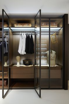 Luxury Bedroom with Dark Brown Painted Oak Free Standing Closet Systems, and Stylish Glass Door With Dark Brown Metal Frame. Closet Organizer, Stylish Free Standing Closet Systems.