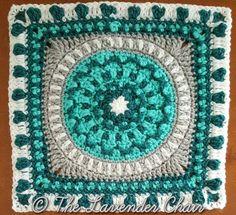 Peony Mandala Square Crochet Pattern Crochet Mandala Pattern, Granny Square Crochet Pattern, Crochet Granny, Crochet Blanket Patterns, Crochet Yarn, Crochet Stitches, Free Crochet, Crochet Borders, Afghan Patterns