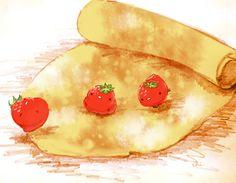 「いちごのロールパンケーキ」/「チャイ」のイラスト [pixiv]