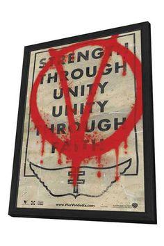 "Back Lot Art 18""H V For Vendetta Framed Poster this is on my Christmas wish list."