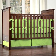 solid color crib bedding in green  | Solid Lime Crib Bedding and Nursery Decor Collection