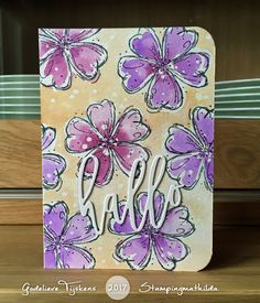 handmade greeting card from Stamping Mathilda: Hello . Distress Stains used to watercolor stamped flowers and background . soft purples and orange . Flower Stamp, Flower Cards, Handmade Birthday Cards, Greeting Cards Handmade, Watercolor Cards, Watercolor Flowers, Distress Markers, Distress Ink, Paper Art