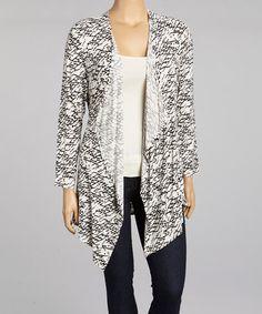 Look at this #zulilyfind! White & Black Abstract Open Cardigan - Plus by Chris & Carol #zulilyfinds