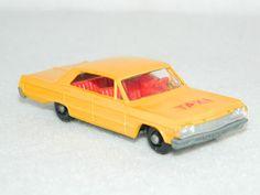 Vintage Lesney Matchbox Cars 1965 #20 CHEVROLET IMPALA TAXI CAB Diecast 1:64 Car