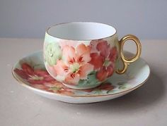 Trademarked with the Mainz Wheel Hochst Porzellan has manufactured exquisite porcelain since Saucer Item Cup Item Easel not included was used for display purposes only. Cup And Saucer Set, Tea Cup Saucer, Teapots And Cups, Teacups, China Tea Cups, Tea Service, My Cup Of Tea, Vintage Tea, Tea Set