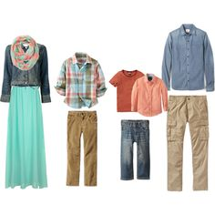 """Coral, turquoise, brown and denim, possible combination for our family photos this year. """"family outfit ideas for photos"""" by tabithadaz11 on Polyvore"""