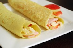 Grain Free Crepes with ham, apple and cheese filling.
