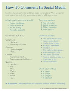 Innovation Design In Education - ASIDE: How To Comment In Social Media - An Infographic Of Tips For High Quality Feedback