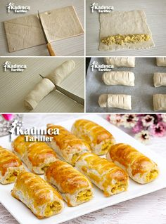 Potato Roll Puff Pastry Recipe, How To - Pizza Recipes Puff Pastry Recipes, Pizza Recipes, Healthy Recipes, Puff Recipe, Pizza Pastry, Turkish Sweets, Fresh Fruits And Vegetables, Arabic Food, Food Humor