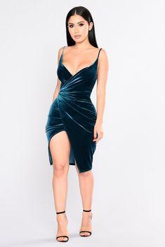 Velvet Slip Surprise Dress - Teal
