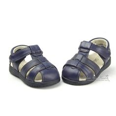 Boys/Girls Leather Sandals - Navy 8114