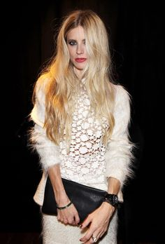A little bit naughty and a little bit nice. Edgy urban cut-outs defy too-sweet lace, draped in luxury fur, kept pure white to tone back the darkside. (Laura Bailey at the Atelier Liberty launch party in London. Laura Bailey, Star Fashion, Fashion News, Fashion Beauty, Women's Fashion, Fashion Shoot, Fashion Models, Fashion Dresses, Long Length Hair