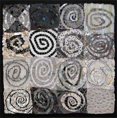 spirals black and white abstract mosaic; mosaic by Cynthia Fischer… Mosaic Crafts, Mosaic Projects, Mosaic Art, Mosaic Glass, Mosaic Tiles, Glass Art, Stained Glass, Mosaic Madness, Cool Ideas
