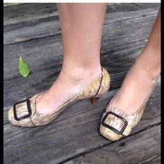 Cole Haan Snake Skin Kitten Heels CLOSING Perfect condition, extremely the most comfortable heels I have ever worn. I paid $100 and only wore them twice. Rubber bottoms so they don't slip. Fits 7 1/2 to 8. The size is not marked. Cole Haan Shoes Heels