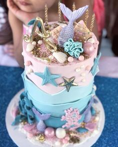 Mermaid Themed Cakes   Top 15 Beach / Ocean Themed Cakes, Cupcakes & Biscuits   What I just love about beach themed and ocean themed cakes, cupcakes & biscuits, is that they can be so very versatile.   http://magnificentmouthfuls.com.au/2018/05/21/beach-ocean-themed-cakes/