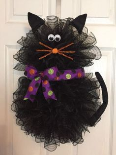 "22"" x 17"" Handmade Halloween Deco Mesh Black Cat Wreath With Bow"