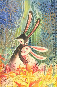 Bunny Love Watercolor Illustration on wood.