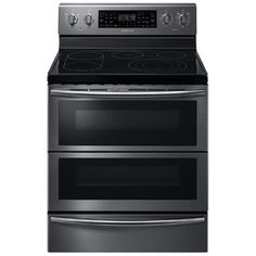 Samsung Flex Duo Smooth Surface ft Self-Cleaning Double Oven Convection European Element Electric Range (Black Stainless Steel) Double Oven Electric Range, Electric Stove, Double Ovens, Dual Oven, Freestanding Double Oven, Cleaning Oven Racks, Spareribs, 5 Elements, Keep Food Warm