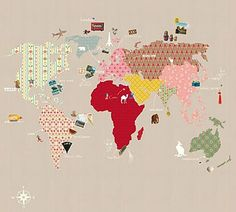 Whole Wide World Wall Panel A fun and educational Map of the World wall panel, with taupe background.