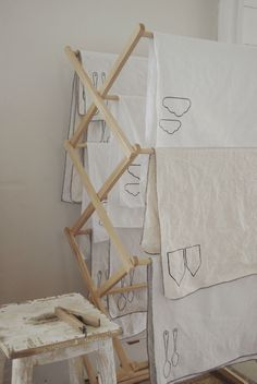 Clean contemporary linen tea towels in a vintage style.