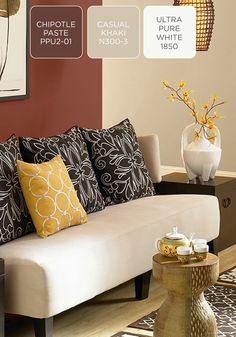 Add a sultry side to your home decor by incorporating a shade of brick red—like BEHR paint in Chipotle Paste. Plus, when it's combined with ethnic-inspired accents and yellow tones, your living room is sure to have a one-of-a-kind style.