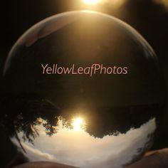 Sun set. Glass ball.