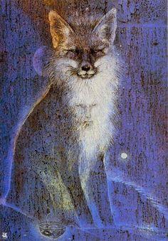 Susan Seddon Boulet - Inari, 1985 fox - for a boy who foxes dance for Fox Spirit, My Spirit Animal, Art Et Illustration, Illustrations, Art Fox, Art Visionnaire, Power Animal, Spirited Art, Art Graphique