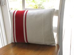 Red and White Upcycled Knit Sweater WInter Christmas Pillow Cover