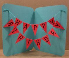 DIY birthday banner card-so cute! Cute Birthday Cards, Homemade Birthday Cards, Happy Birthday Banners, Diy Birthday, Homemade Cards, Birthday Bunting, Birthday Ideas, Balloon Birthday, Funny Birthday