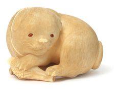 An ivory netsuke of a puppy By Kaigyokusai Masatsugu (1813-1892), Osaka, mid/late 19th century; sold 42,718.USD; 10/05/17.