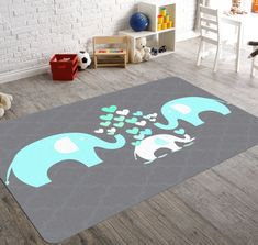 This elephant rug will go perfectly with a whimsical nursery decor!  ********************************************************    RUG DETAILS: NAR Style no: 879 Non-woven, fabric rug Rounded corners Fuzzy fabric rug Non-slip rubber backing Made In USA  CARE: Do not dryclean Wipe with good ol soap and water!  SHIPPING:  Ships within 12-14 Business Days  Please Note: Shipping to Hawaii & Alaska is $85  Questions? Please send us a convo…