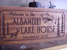 Wooden Family Lake House Welcome Signs Pine Tree Pine Cone Deer Fish Primitive wood carved Sign Wooden Carved Cabin Plaque Buck Benchmark on Etsy, $39.99