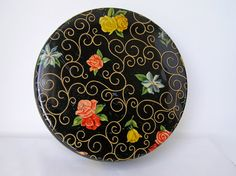 50s Round Black Floral TIn 2 Piece by sweetlilystudio on Etsy