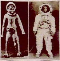 These photos depict figures found in Equador. Notice they appear to be wearing space suits. You can see a comparison photo with an Apollo astronaut.