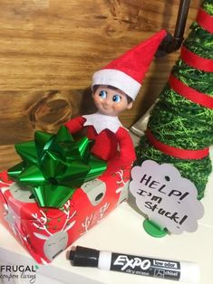 Elf is stuck. Daily Elf on the Shelf Ideas all November and December long. Plus free printables and free costumes for your North Pole visitor. Magical Christmas, Homemade Christmas, Christmas Holidays, Christmas Crafts, Merry Christmas, Christmas Activities, Christmas Traditions, The Elf, Elf On The Shelf