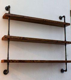 Wood Shelving Unit, Wall Shelf, Industrial Shelves, Rustic Home Decor on Etsy, $200.00: