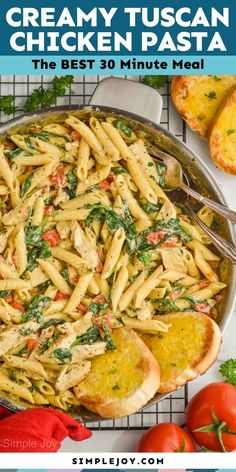 Tuscan Chicken Pasta is a delicious easy dinner that comes together in 30 minutes on the stovetop. Your family will love the rich flavors of this fast dinner. Tuscan Chicken Pasta, Chicken Pasta Recipes, Soup Recipes, Dinner Recipes, Chicken Alfredo, Baking Recipes, Potato Bacon Soup, Creamy Potato Soup, Ground Turkey Stuffed Peppers