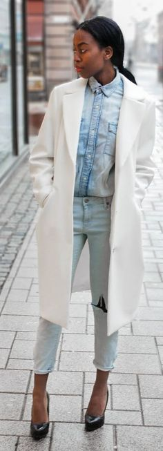 White Coat On Denim Outfit