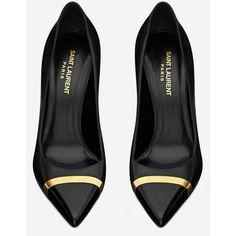 Saint Laurent Classic Paris Cap-Toe Escarpin Pump In Black Leather And... ($745) ❤ liked on Polyvore
