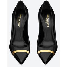 Saint Laurent Classic Paris Cap-Toe Escarpin Pump In Black Leather And... ($745) ❤ liked on Polyvore featuring shoes, pumps, heels, sapatos, high heels, black and gold, black high heel pumps, black shoes, high heel pumps and heels & pumps